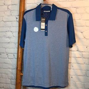 NWT Adidas Climachill Blue Athletic Golf Polo M